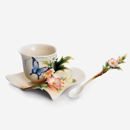 Franz Fluttering Beauty Flower and Butterfly Design Sculptured Porcelain Cup Saucer and Spoon Set by