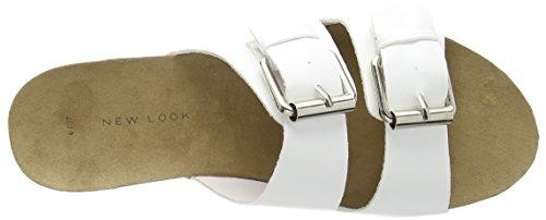 New Look Footbed Double Buckle, Damen Sandalen Weiß