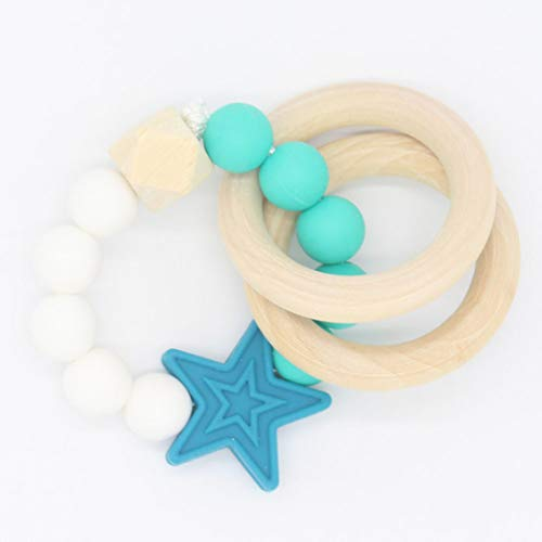 LongleiWG Süß Holz geschnittenes Baby Säugling Teether Zahnring Armband Spielzeug(None 1)