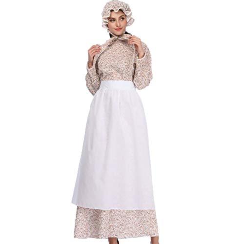 Bearbelly Damen Magd Kleid Kellnerin Schürze Kleid Kostüm Prinzessin Kostüm Kleid mit Kopfschmuck und Schürze, geeignet für Oktoberfest/Restaurant/Festival/Party/Prom/Halloween (Blumen, - Magd Kostüm Für Sie
