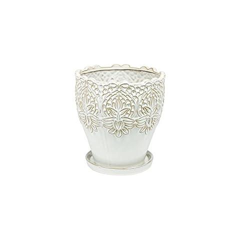 Decoratif Lisbon 16 cm cache-pot et soucoupe, ceramique motif florale