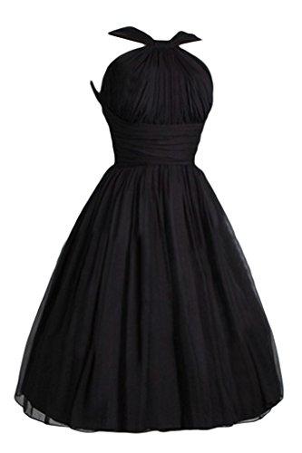 Ivydressing Damen Liebling A-Linie Chiffon Kurz Einfach Cocktailkleid Festkleid Abendkleid Schwarz