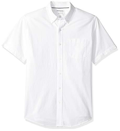 Amazon Essentials Herren Oxford-Hemd, reguläre Passform, Kurzarm, mit Brusttasche, Weiß (White Whi), US L (EU L)