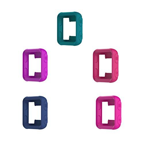 5 STÜCKE Weiche Silikon Schutzrahmen Kratzfest Stoßfest Abdeckung Shell Uhrengehäuse für Garmin Forerunner 35/30 S20 (Rosa + Rosy + Dunkelblau + Teal + Lila) (Teal Garmin-uhr)