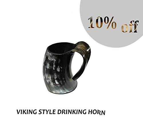 Thor Viking Valhalla The Original Handcrafted Authentic Viking Tasche Trinkhorn Große Tankard für Bier, Met, Ale Medieval Inspired Stein Tasse, Lebensmittelecht Behälter 16 Unzen