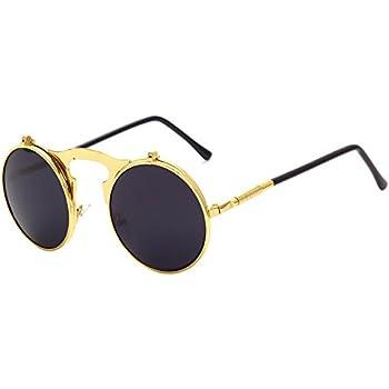 33fe8567d0 BOZEVON Metal Retro Steampunk Style Circle Sunglasses Flip up Round Lens  for Men & Women