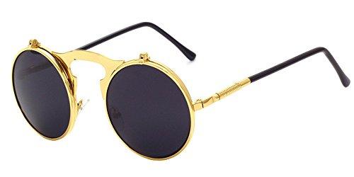 BOZEVON Metal Retro Steampunk Style Circle Sunglasses Flip up Round Lens for Men & Women