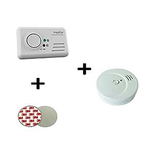 AngelEye CO Melder Kohlenmonoxid + FiduciaShop 5Jahres Rauchmelder + Magnethalter Kohlenmonoxidwarnmelder