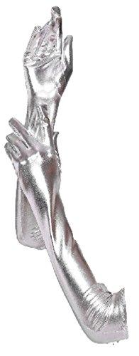 krautwear® Damen Finger Handschuhe Glitzer Metallic ca. 44 cm Lang Gold Silber (BL9127-silber)