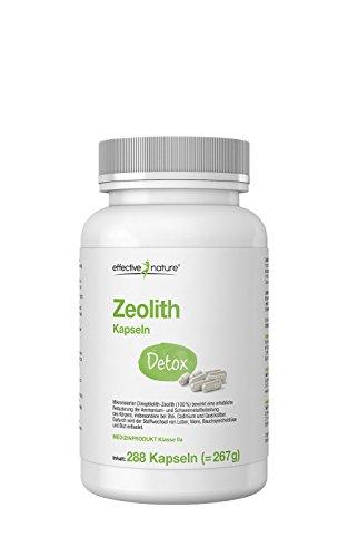 Amalgam-kapseln (effective nature Zeolith Detox - 288 vegetarische Kapseln - zur effektiven Entgiftung - Zugelassenes Medizinprodukt - Neutralisiert Säuren)