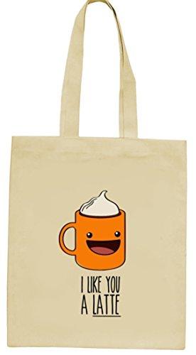 Geschenkidee natur Jutebeutel Stoffbeutel mit I Like You A Latte Motiv von ShirtStreet Natur