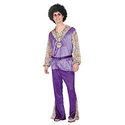 1960s Mens Flower Power Hippy Fancy Dress 60s Groovy Retro Adults Costume Outfit