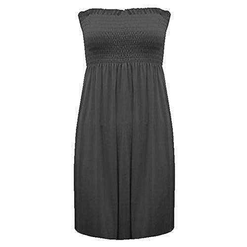NEW WOMENS LADIES PLAIN SHEERING BOOBTUBE BANDEAU SUMMER STRAPLESS SHORT  DRESS TOP (XXL(20/22), Black)