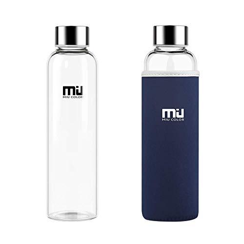 MIU COLOR Stilvolle tragbare 550ml Glasflasche mit Nylon-Tasche Trinkflasche für Auto ohne Teesieb, dunkelblau