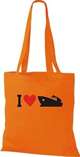 JUTA Borsa di stoffa I LOVE YACHT, Stivale,capitano,SKIPPER Arancione