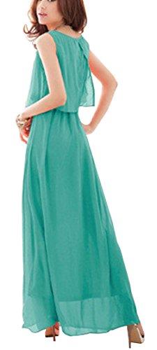 DELEY Damen Sommer Elegant Bohemian Ärmelloses Chiffon Casual Partei Strandkleid Maxikleid Grün