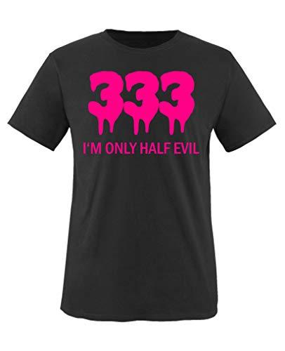 (Comedy Shirts - 333 I'm only Half Evil - Mädchen T-Shirt - Schwarz/Pink Gr. 110-116)