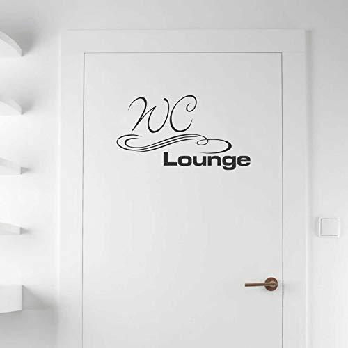 INDIGOS UG Wandtattoo - Wandaufkleber - Tür- Wandtattoo WC Lounge - 60cm x 34cm schwarz - Dekoration Küche Wohnzimmer Wand