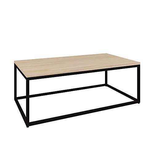 Vicco Loft Couchtisch Malibu Metall massiv Holz Eiche Natur 60x60 60x110 Industrial (60 x 110 cm) - Malibu Glas Tisch