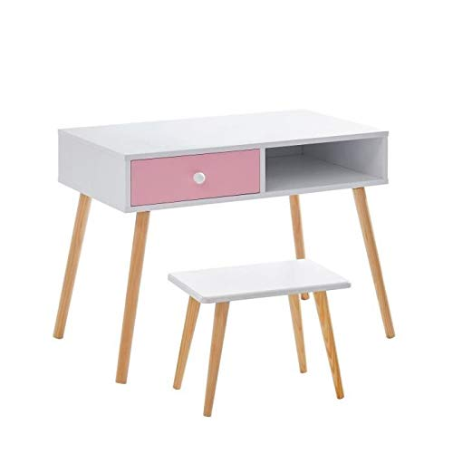 BABETTE Ens bureau droit + tabouret enfant scandinave blanc et rose laqué mat + pieds hévéa massif - L 80 cm et L 40 x P 25 cm