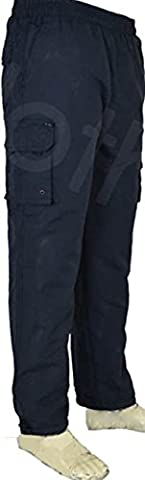 T6 Mens Elasticated Fleece Lined Thermal Walking Cargo Winter Trousers (Medium, Navy Blue)