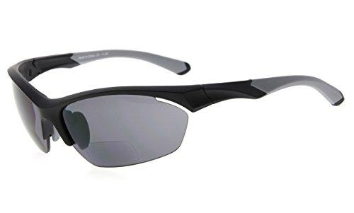 Eyekepper TR90 Sport Bifokale Sonnenbrille Baseball Laufen Angeln Fahren Golf Softball Wandern Halbrandlose Lesebrille (Schwarzer Rahmen Grauer Tempel, 1.00)