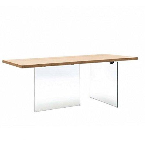 estea meubles – Table avec plateau en bois Chêne massif avec pieds en cristal trempé