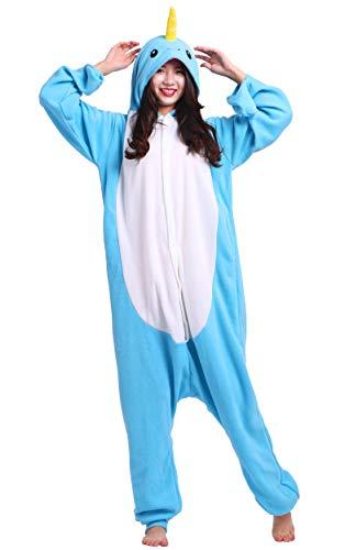 Kostüm Narwal - Jumpsuit Onesie Tier Karton Fasching Halloween Kostüm Sleepsuit Cosplay Overall Pyjama Schlafanzug Erwachsene Unisex Lounge Kigurumi Narwal for Höhe 140-187CM