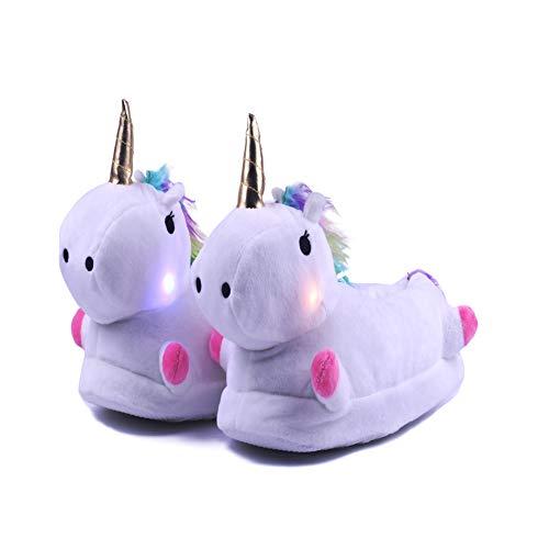 Lovelysi LED Plüsch Pantoffeln Cartoon Kostüm Einhorn Hausschuhe Tierhausschuhe Unisex - Kinder Damen Jungen Mädchen Geschenk