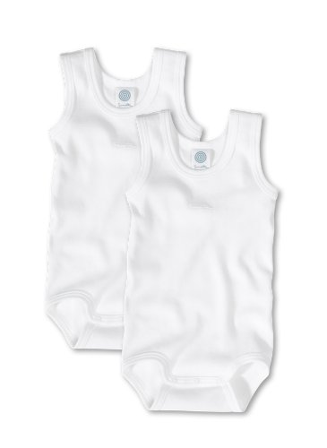 Sanetta Unisex - Baby Body 321859, 2Er Pack, Einfarbig, Gr. 86, Weiß (White 10)