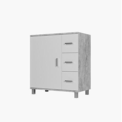 Vicco Waschtischunterschrank Ilias Badschrank Badezimmerschrank Waschbeckenunterschrank Unterstellschrank (Beton/Weiß)