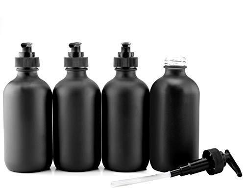 Cornucopia Brands Pumpflaschen aus Glas, mit schwarzer Beschichtung, 227 ml, 4 Stück -