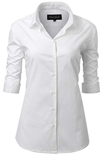 Weiße Baumwolle Blusen (INFLATION Damen Hemd mit Knöpfen Baumwolle Bluse Halbarm 3/4 Ärmelshirt Figurbetonte Hemdbluse Business Oberteil Arbeithemden Weiß 38/10)