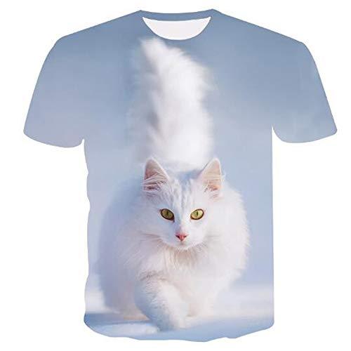 3D Print Weste Herren Tank Top Fitness Ärmelloses Shirt Herren Bekleidung Sportswear Unterhemd Sommer,Gedruckte weiße Katze A Blue 3XL