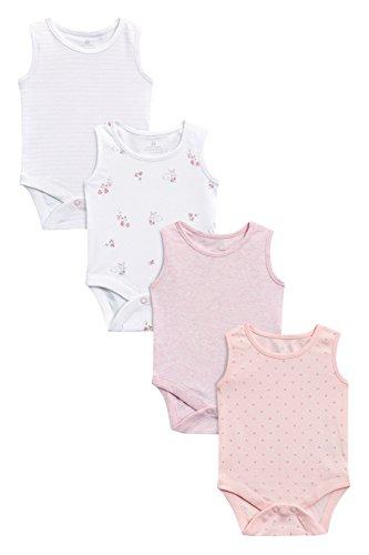 next Baby Mädchen Ärmellose Bodys 4Er Pack (0Monate Bis 3Jahre) Rosa/Weiß 9-12 Monate Nylon Wolle Fell