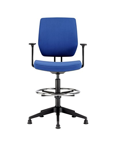 Bargain Chairs For Offices HI131104BL High Seat Draughtsman Workbench Counter Chair with Arms Blue Free 3 day Delivery Special