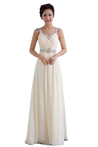 Vantexi Damen Perlen Schultergurte Abschlussball Abendkleid Brautjungfer Kleider Champagner Größe...