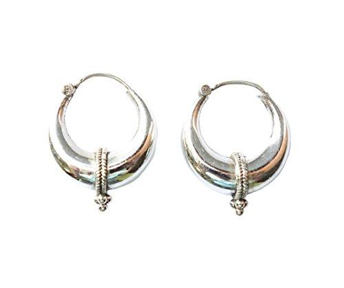 925 d'argento orecchini fatti a mano per donne & uomini moda orecchini a cerchio in moderno design etnico tribale / lunghezza: 3 cm; larghezza: 2,5 cm