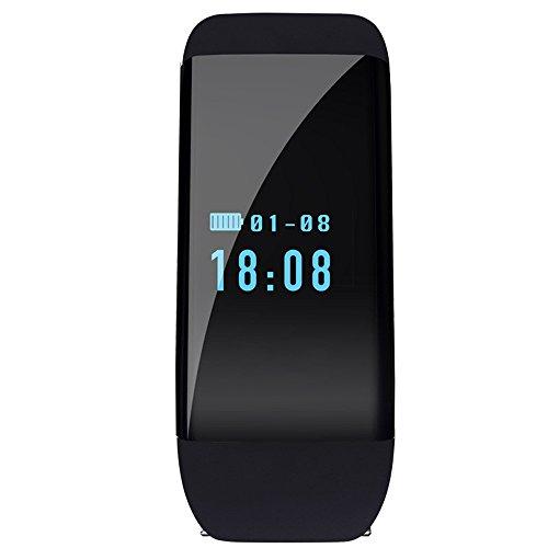 XLORDX SKMEI Fitness Tracker LED Datum Schrittzähler Puls Kalorien Sleep Monitor Tracker CALL Benachrichtigung Blutdruck Wasserdicht Sport Armbanduhr Smart Uhr Schwarz für IOS Android Schwarz