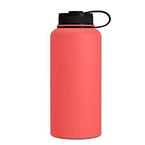 Geo Sport-Wasserflasche, doppelwandig, vakuumisoliert, Edelstahl, auslaufsicher, breite Öffnung, BPA-freier Schraubverschluss, Warm Red