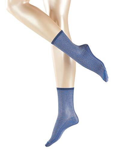 Esprit Damen Socken Glitter 1 Paar - blau - Größe 39-40 Blickdicht - Damensocken Frauensocken