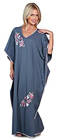 Ladies Freesize Kaftan Embroidered Long Length One Size Floral Pattern Grey Style: - 9984