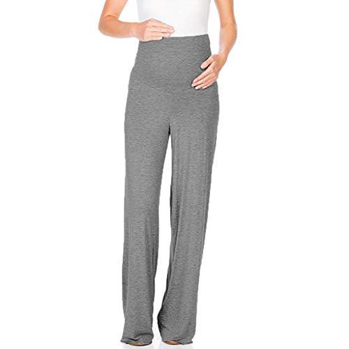 Lonshell Frauen Yoga Pants Bequeme Umstandshose mit Extra Bauch-Panel Freizeit Pumphose Sporthosen Umstandsmode Maternity Damen Stoffhose Casual Schwangerschaftshose -