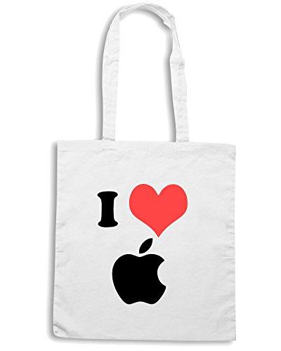 T-Shirtshock - Borsa Shopping TR0060 I Love Apple 25mm 1 Pin Badge Button Mac Steve Jobs Computer Geek Bianco