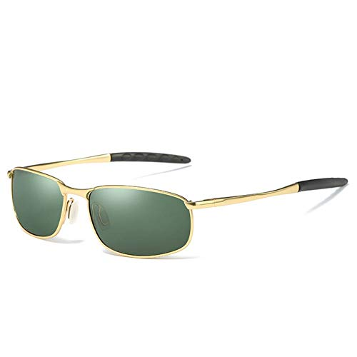 GAOHAITAO Designer Polarized Sunglasses Goggles Men Designer Mirror Glasses Eyewear Accessories,Gold Green