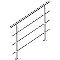 LZQ 160cm Main courante en acier murale Garde-corps inoxydable avec 3 poteaux traverses pour escaliers, balustrade, balcon