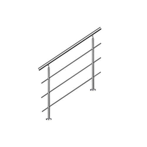 MCTECH® 160cm Garde-corps en acier inoxydable Rambarde Main Courante Rampe d'escalier 3 poteaux traverses pour escaliers, balcon, balustrade