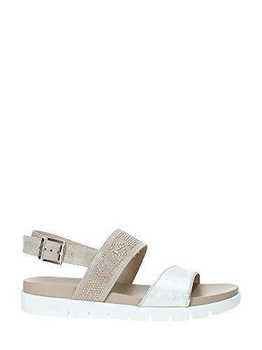 Nero giardini sandalo donna in pelle e camoscio con borchiette p908314d - 39 - platino
