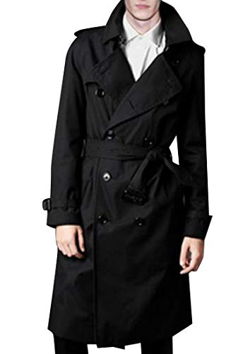 CuteRose Men's Maxi and Midi Slim Casual Trench Coat Jacket with Belt Black 2XL