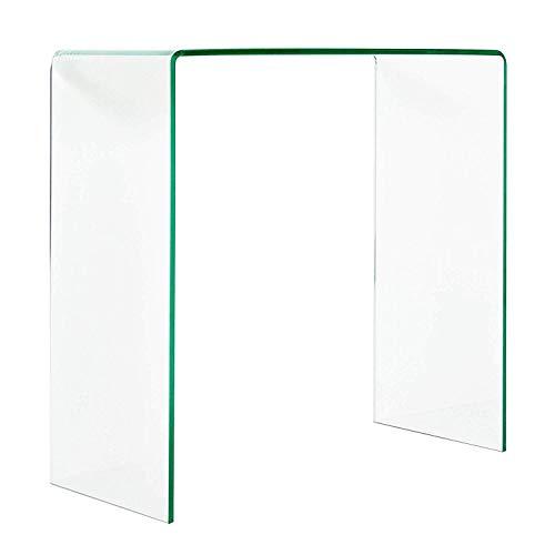 Tavolino consolle da salotto in vetro temperato, consolle luxury z-05, design curvo e moderno,110 x 75 x 33 cm, vetro temperato trasparente